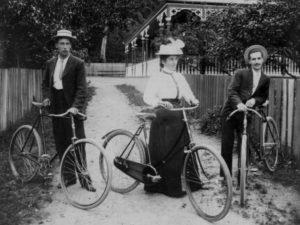 Miss Darrow with her brothers in Thames around 1885 (not known to be a suffragist but this is a lovely photo of a woman in the 19th Century NZ enjoying the freedom of riding