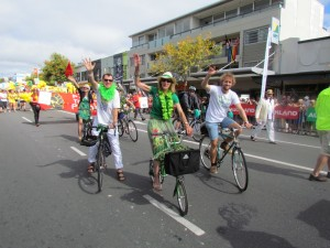 Barbara Grace taking part in the 2013 Pride Parade on her Brompton