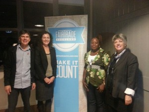 Fair Trade Auckland celebration L-R Wayne Walker, Pippa Coom, Rose from Ghana and Penny Hulse