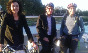 Pippa Coom, Cr Chris Darby, Christopher Dempsey at Velo-city 2014 Adelaide