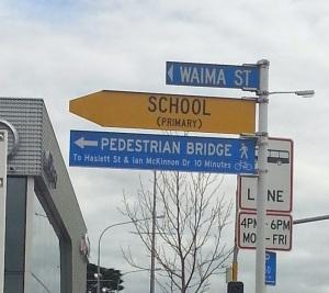Waima Street wayfinding sign