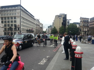 Commuter cyclists at Blackfriars