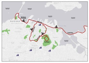 "Proposed routes for ""freecycle"" Auckland an open streets event. Map design: Lennart Nout"