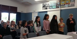 Penelope Carroll (Massey University) and children from central schools present on the children's audit carried out as part of the Freyberg Square consultation