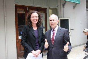Pippa Coom and Len Brown on Suffrage Day 2013