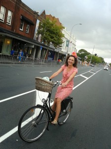 Pippa Coomimpromptu ciclovia before the Pride parade on Ponsonby Road Feb 2014
