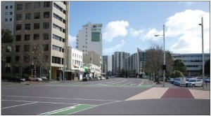 Beach Road looking West between Te Taou Crescent and Mahuhu Crescent