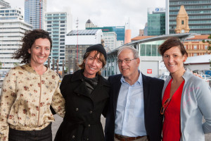 Pippa Coom, Janette Sadik-Khan , Mayor Len Brown and Nic Williams from Frocks on bikes