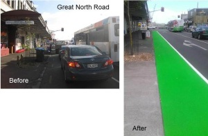 Great North Road feeder lane before after