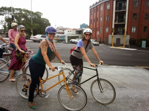 Melissa Bruntlett and Leah Murphy (Frocks on Bikes Wellington) riding Tokyo bikes