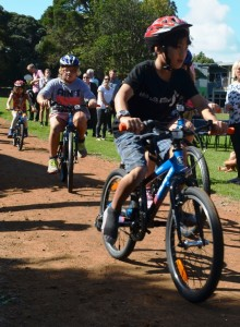Freemans Bay bike track opening kids on the track