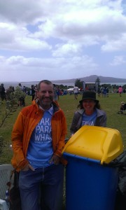 Waitangi on the bins with Christopher