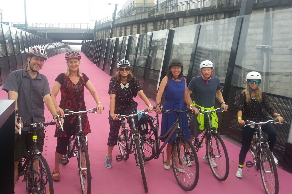 Members of the Waitemata Local Board and Local Services staff on a lunchtime bike ride for the Auckland Bike Challenge