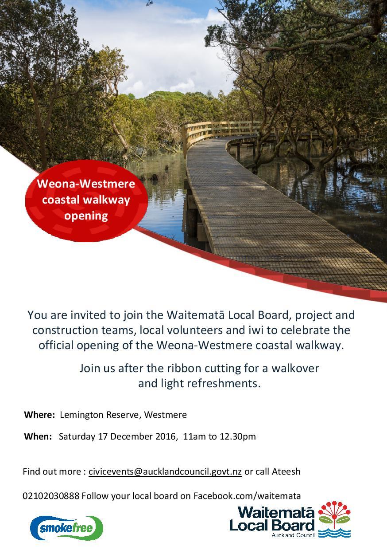 Weona-Westmere Coastal Walkway open